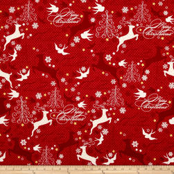 Sparkle Metallic Reindeer Red Fabric