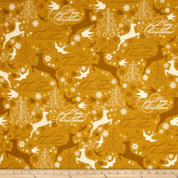 Sparkle Metallic Reindeer Gold Fabric