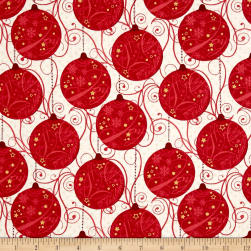 Sparkle Metallic Ornaments Red Fabric