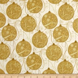 Sparkle Metallic Ornaments Gold Fabric