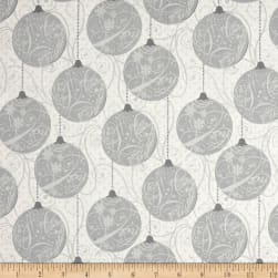 Sparkle Metallic Ornaments Silver Fabric