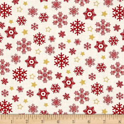 Sparkle Metallic Snow Flakes Red Fabric