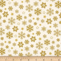 Sparkle Metallic Snow Flakes Gold
