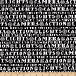 Lights, Camera, Action Words Black Fabric