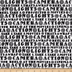 Lights, Camera, Action Words White Fabric