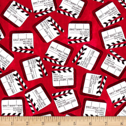 Lights, Camera, Action Clap Board Red Fabric