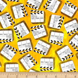 Lights, Camera, Action Clap Board Yellow Fabric