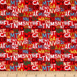 Coast to Coast States Red Fabric
