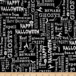 Eat, Drink & Be Scary Words Black Fabric