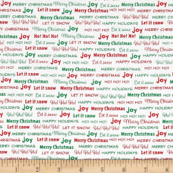 Bread & Butter Joy Words White Fabric
