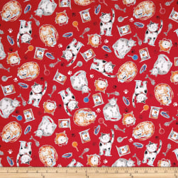 Take Me Home Cats Red Fabric