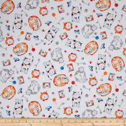 Take Me Home Cats White Fabric