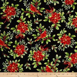 Noel Metallic Cardinal Floral Black Fabric