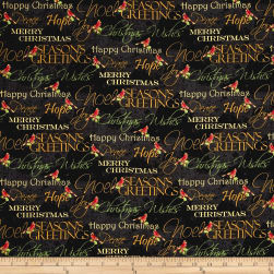 Noel Metallic Words Black Fabric