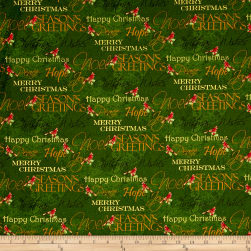 Noel Metallic Words Green Fabric