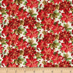 Noel Metallic Poinsettias Linen White Fabric