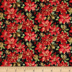 Noel Metallic Poinsettias Black Fabric