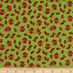 Noel Holly Berries Green Fabric