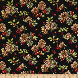 Noel Metallic Pinecones Black Fabric