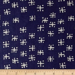 Twilight Mud Cloth Criss Cross Indigo Blue Fabric