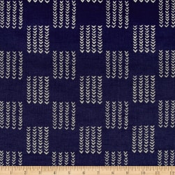 Twilight Knitted Squares Indigo Blue Fabric