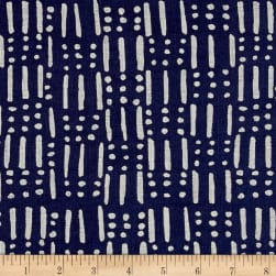 Twilight Dots And Sticks Indigo Blue Fabric