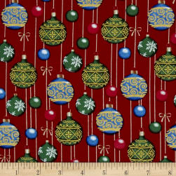 O' Christmas Tree Metallic Ornaments Red Fabric