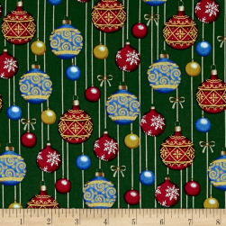 O' Christmas Tree Metallic Ornaments Green Fabric