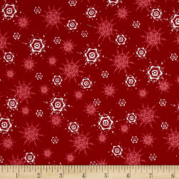 O' Christmas Tree Snowflakes Red Fabric