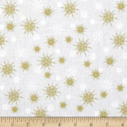 O' Christmas Tree Metallic Snowflakes White Fabric