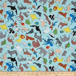 We Share One World Animals Aqua Fabric