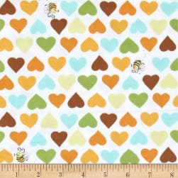 Susybee Zoe the Giraffe Hearts and Bees Flannel
