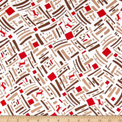 Green and Red Dasher Brown Fabric