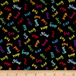 Andover And Z Words Black Fabric