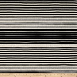 Rib Knit Yarn Dyed Stripe Black/Oatmeal/Heather Gray Fabric