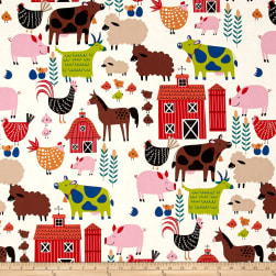 Alexander Henry In the Kitchen E-I-E-I-O Tea Fabric