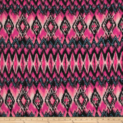 Rihan Jersey Knit Abstract Diamonds Pink/Black/Blue Fabric