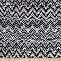 Rihan Jersey Knit Chevron Black/White Fabric