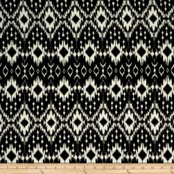 Rihan Jersey Knit Abstract White Diamond Medallions on Black
