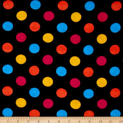 Rihan Jersey Knit Yellow/Blue/Orange Polka Dots on Black