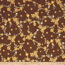 Rihan Jersey Knit Yellow Botanical on Brown Fabric
