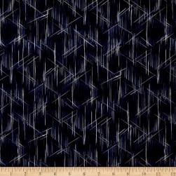 Indigo Summer Graphic Lines Navy Fabric