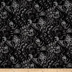 Alexander Henry Skullduggery The Catacombs Charcoal Fabric