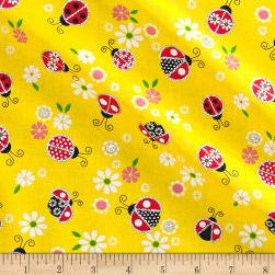 Glitter Lady Bugs Yellow Fabric