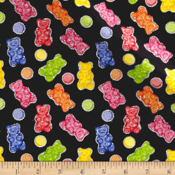 Glitter Gummy Bears Black Fabric