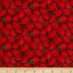 Packed Strawberries Red Fabric