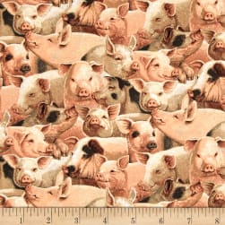 On the Farm Niche Cotton Packed Pigs Fabric