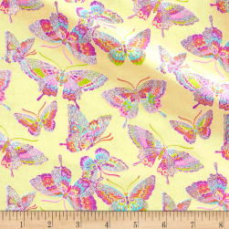 Pizzaz Flannel Glitter Butterflies Yellow Fabric