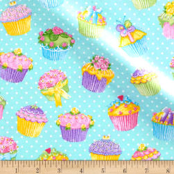 Pizzaz Flannel Glitter Cupcakes Blue Fabric
