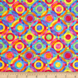 Rainbow Bright Geometric Circles Multi Fabric